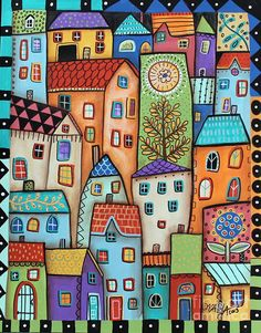 Purchase posters from Karla Gerard. All Karla Gerard posters are ready to ship within 3 - 4 business days and include a money-back guarantee. Karla Gerard, Illustration Art, Illustrations, House Quilts, Art Abstrait, Naive Art, Whimsical Art, Art Plastique, Doodle Art
