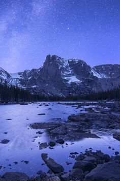 Notchtop Mountain Stars - Rocky Mountain National Park : Mountain photography by Aaron Spong