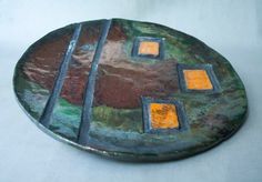 Ceramic plate raku pottery multicolour orange by ClayLadyArt
