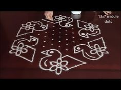 Dot Rangoli: 13 to 7 रंगोलियां Dot Rangoli, Rangoli Patterns, Rangoli Designs With Dots, Diwali Rangoli, Rangoli With Dots, Beautiful Rangoli Designs, Kolam Designs, Simple Rangoli, Latest Rangoli