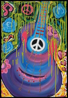 'Peace Guitar - Hippie Abstract Art' by Laura Barbosa Hippie Peace, Hippie Love, Hippie Art, Hippie Style, Hippie Vibes, Hippie Chick, Peace Sign Art, Peace Signs, Hippie Trippy