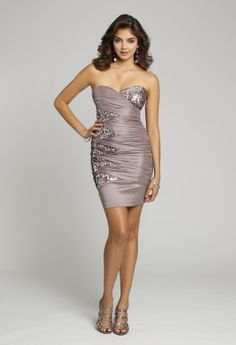 Homecoming Dresses - Strapless Ruched Taffeta Short Dress with Sequins from Camille La Vie and Group USA