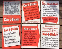 Ken-l-biskit Dog Food Of Champions 6 Piece Ad Promo Literature Champion Dogs     eBay