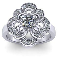 Inel logodna L164ASA cu safir alb si diamante