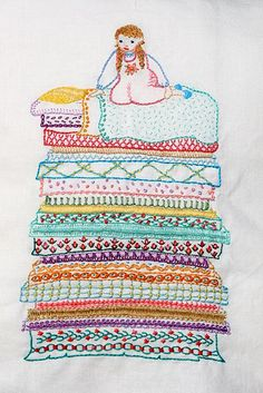 Princess & the Pea. Each mattress layer is done with a different stitch! Created by Sew'nQuilt