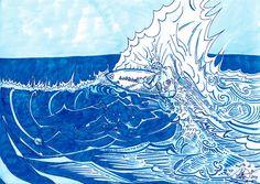"Lüthårt | Surfing Blues | 8.5"" x 11"" | Limited edition signed print."
