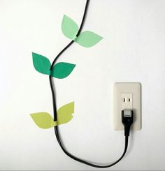 leaves for hanging electronics wires! LOVE this idea