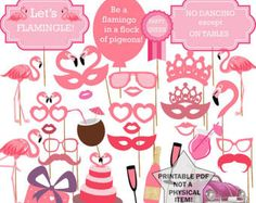 Flamingo Photo Booth Props Pink Photobooth Props Flamingo