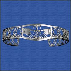 Sterling Silver Celtic Claddagh & Knotwork Cuff Bracelet