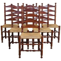 Oak Dining Room Chairs, Dining Chair Set, Shaker Style, Country Farmhouse, Amish, Ladder, Cherry, Table, Furniture