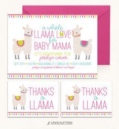 Llama Shower Invitation / Llama Invitation / Llama Party / Llama Baby Shower / Alpaca Shower / Baby Llama Baby Mama / Llama Invite / Llama Thank You Card / Thanks a Llama Card / Llama Baby Shower Printables designed by Lovely Letters Design  lovelylettersdesign.com