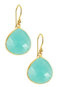 Aqua Chalcedony Dangle Earrings by Charlene K on @HauteLook