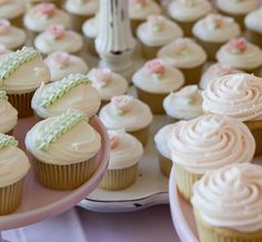 More ivory cream and light green wedding cupcakes and pale blush pink frosted cupcakes. Don't these look romantic? Photo credit: Sibby's Cupcakery