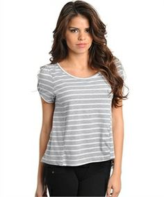 White And Grey Pin Stripe T (newboundries online fashion boutique)