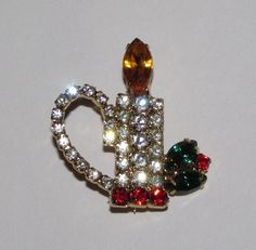 Vintage Rhinestone CHRISTMAS Candle and by CollectandRecollect