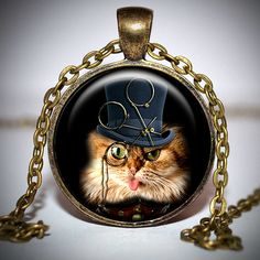 I hear so much about this steampunk style. Steampunk Cat, Steampunk Necklace, Steampunk Clothing, Steampunk Fashion, Fashion Jewelry, Women Jewelry, Unique Jewelry, Vintage Fans, True Art