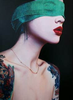 Artist: Philip Munoz, oil on canvas {contemporary figurative beautiful hyperreal female tattooed woman realism décolletage portrait painting} <3
