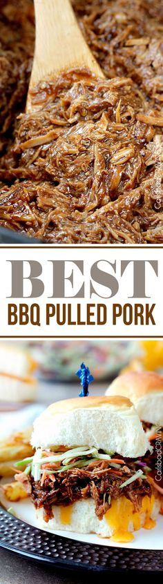 "EASY slow cooker tender, tangy sweet, smokey, BBQ Pulled Pork perfect for large gatherings, busy weekdays or whenever you are craving the ""Best"" BBQ pulled pork!"