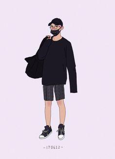chanyeol's black summer outfits People Illustration, Character Illustration, Illustrations, Black Summer Outfits, Man Sketch, Exo Fan Art, Summer Boy, Digital Art Girl, Boy Art