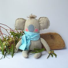 Koala toy, plush baby toy Koala linen toy, cuddly cute baby koala. Neutral color and mint. Baby shower, birthday gift