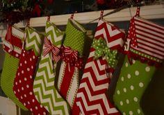 5 Christmas stockings personalized in bright red and by NanLouise, $115.00