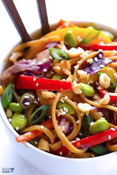 Rainbow Peanut Noodles by gimmesomeoven.com. Made with whole-wheat pasta, tons of fresh veggies and a peanut sauce that will knock your socks off.