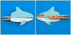 Clothespin Shark by Amanda Formaro Frauen Basteln mit Kindern Herbst ? Kids Crafts, Summer Crafts, Toddler Crafts, Arts And Crafts, Paper Crafts, Clothespin Crafts, Shark Craft, Puppets For Kids, Ocean Crafts