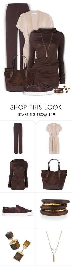"""""""Let's have Mocha"""" by kiki-bi ❤ liked on Polyvore featuring Burberry, Vince, Rick Owens, Frye, Tory Burch, NEST Jewelry and LC Lauren Conrad"""
