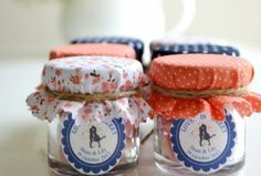 Wedding Favor Ideas - Jam ...could diy with coral and navy fabric and twine