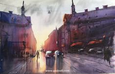 The afternoon light penetrates between the arched houses at the intersection between Tegnérgatan and Sveavägen. Dont know what the place is called but the place is wonderful. Watercolor Stefan Gadnell