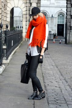 'Oranje boven' personal style blogger Sietske Lamers spotted on the streets in London during London Fashion Week