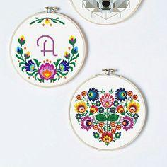 Floral cross stitch patterns inspired by Polish folk art