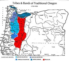 From (color added) Maps in Oregon Indians Culture, History, and Current Affairs: an Atlas and Introduction by Jeff Zucker, Kay Hummel, and Bob Hogfoss with cartography by Jay Forrest Benniman; 1983, Western Imprints of the Oregon Historical Society