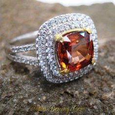 Orange Zircon Silver Ring 8US untuk Wanita