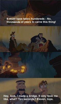 Atlantis the lost empire, film, Disney, this movie is so underrated Funny Disney Memes, Disney Quotes, Disney Cartoons, Funny Memes, Hilarious, Funniest Memes, Funny Gifs, Funny Videos, Disney Pixar