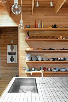 Ceramic tile tops the kitchen island.