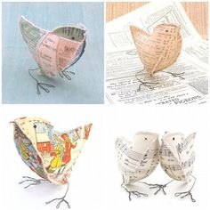 Bird Quilt Patterns - Delicate and lovely Paper Mache Sculpture, Bird Sculpture, Soft Sculpture, Paper Mache Crafts, Bird Crafts, Paper Birds, Fabric Birds, Bird Patterns, Quilt Patterns