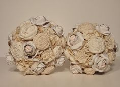 Fabric Flower Bouquet  Vintage Style Wedding by bouquets4love, $150.00