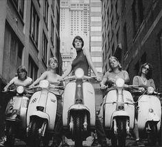 #ridecolorfully tough girls riding #vespas downtown