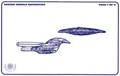 Schematic of the two sections, Saucer and Drive, of Galaxy-class Starship