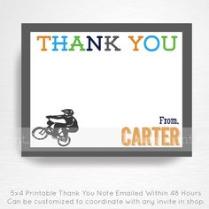 BMX Birthday Party Printable Thank You Note YOU by printpopparty