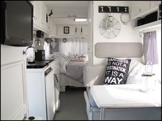 Cute!  Black and white them motor home make over