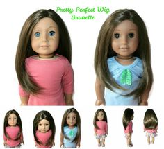 Our Pretty Perfect girl doll wig in Brunette. Can be glued for a center or side part.