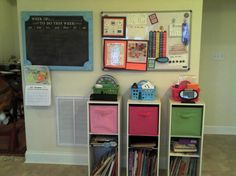 Homeschool room / love those storage shelves one for each kid. Such a simple thing, why didn't I think of that?!?