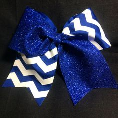 Royal Blue Glitter with White Chevron Cheer Bow by BSBowzandThingz