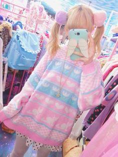 I want that sweater. Pastel Goth Outfits, Pastel Goth Fashion, Pastel Outfit, Lolita Fashion, Gothic Fashion, Japanese Street Fashion, Tokyo Fashion, Harajuku Fashion, Japanese Kawaii Fashion