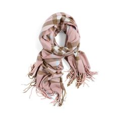 SheIn(sheinside) Pink Khaki Plaid Tassel Scarve ($15) ❤ liked on Polyvore featuring accessories, scarves, tartan plaid scarves, cotton scarves, tartan scarves, vintage shawl and cotton shawl