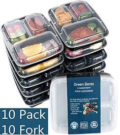 [10 Pack]3 Compartment Meal Prep Food Storage Containers with Lids/BPA Free Bento Lunch Boxes/Divided Portion Control Container Plates-Microwave, Dishwasher Safe, Free Cutlery, http://www.amazon.com/dp/B0140ZN2EQ/ref=cm_sw_r_pi_awdm_x_FrCZxbR9VSQPE