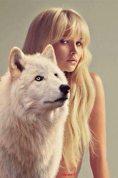 Girl with wolf Wolf Spirit, Spirit Animal, Fantasy Wolf, Fantasy Art, Beautiful Creatures, Animals Beautiful, Animals And Pets, Cute Animals, Wolf Hybrid