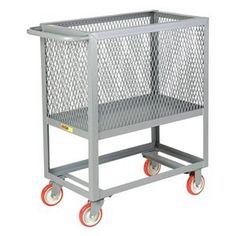 Mesh Truck, Push, 30 In. W, 54 In. L by Little Giant. $585.42. Mesh Box Truck, Load Capacity 2000 lb., 12 ga., Steel, Overall Height 40 In., Overall Width 30 In., Overall Length 54 In., Number of Caster Wheels 4, Caster Wheel Type (2) Rigid, (2) Swivel, Caster Wheel Material Non-Marking Polyurethane, Caster Wheel Dia. 6 In., Caster Wheel Width 2 In., Gray, Powder Coat Finish, Handle Type Push